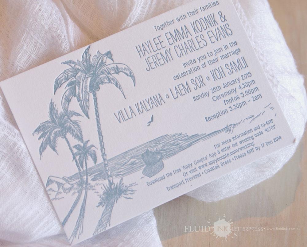 Tropical letterpr wedding invitation