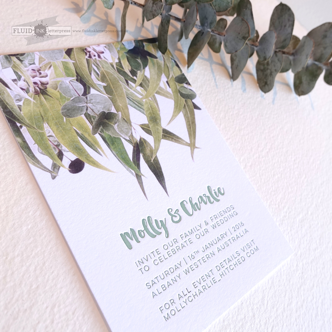 Gum leaf wedding invitation