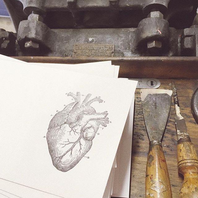 Open you hearts!_#valentinesday #anatomical #medical #letterpress #paperphile #letterpressperth #letterpresswa #letterpressaustralia #letter