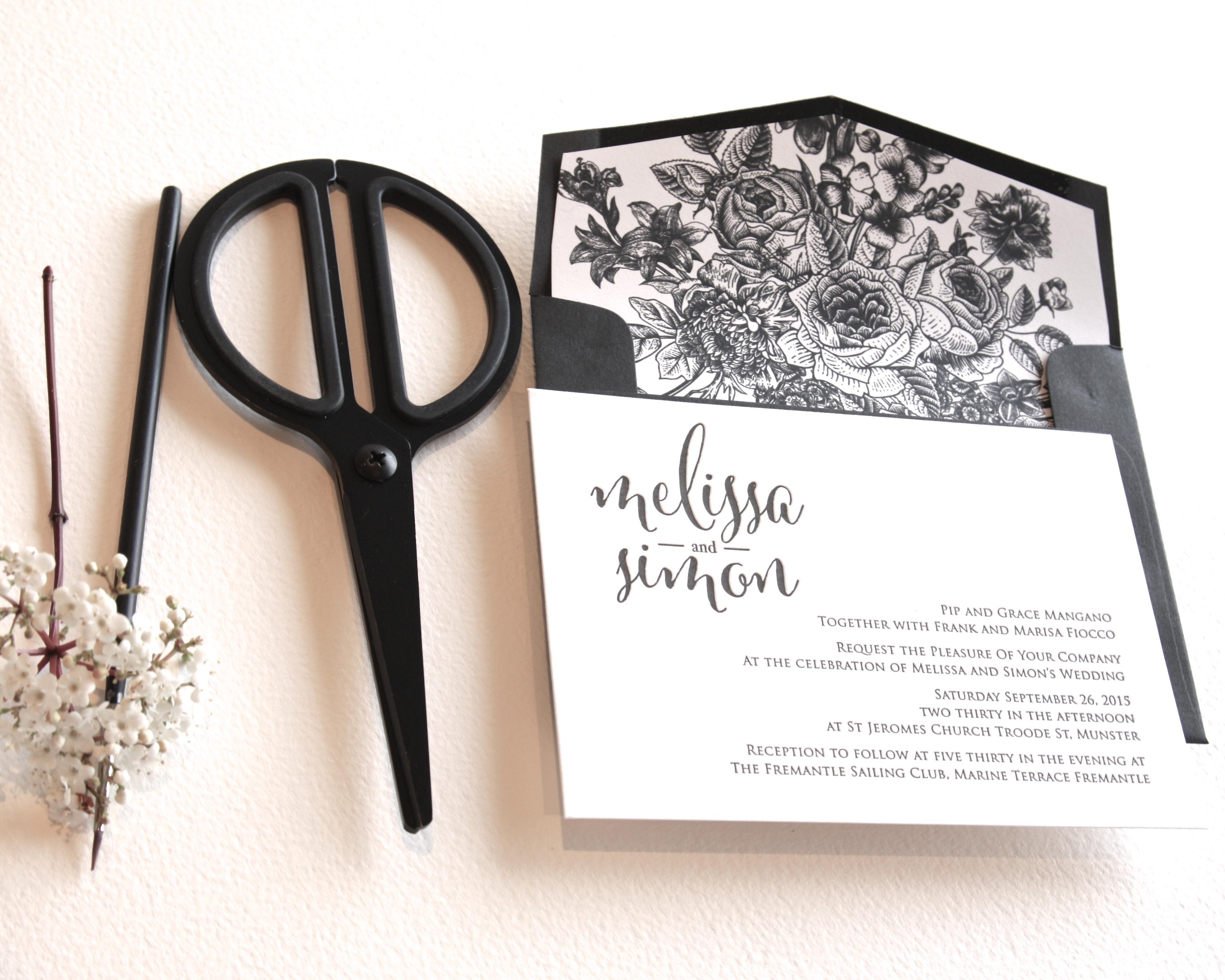 monochrome letterpress wedding4
