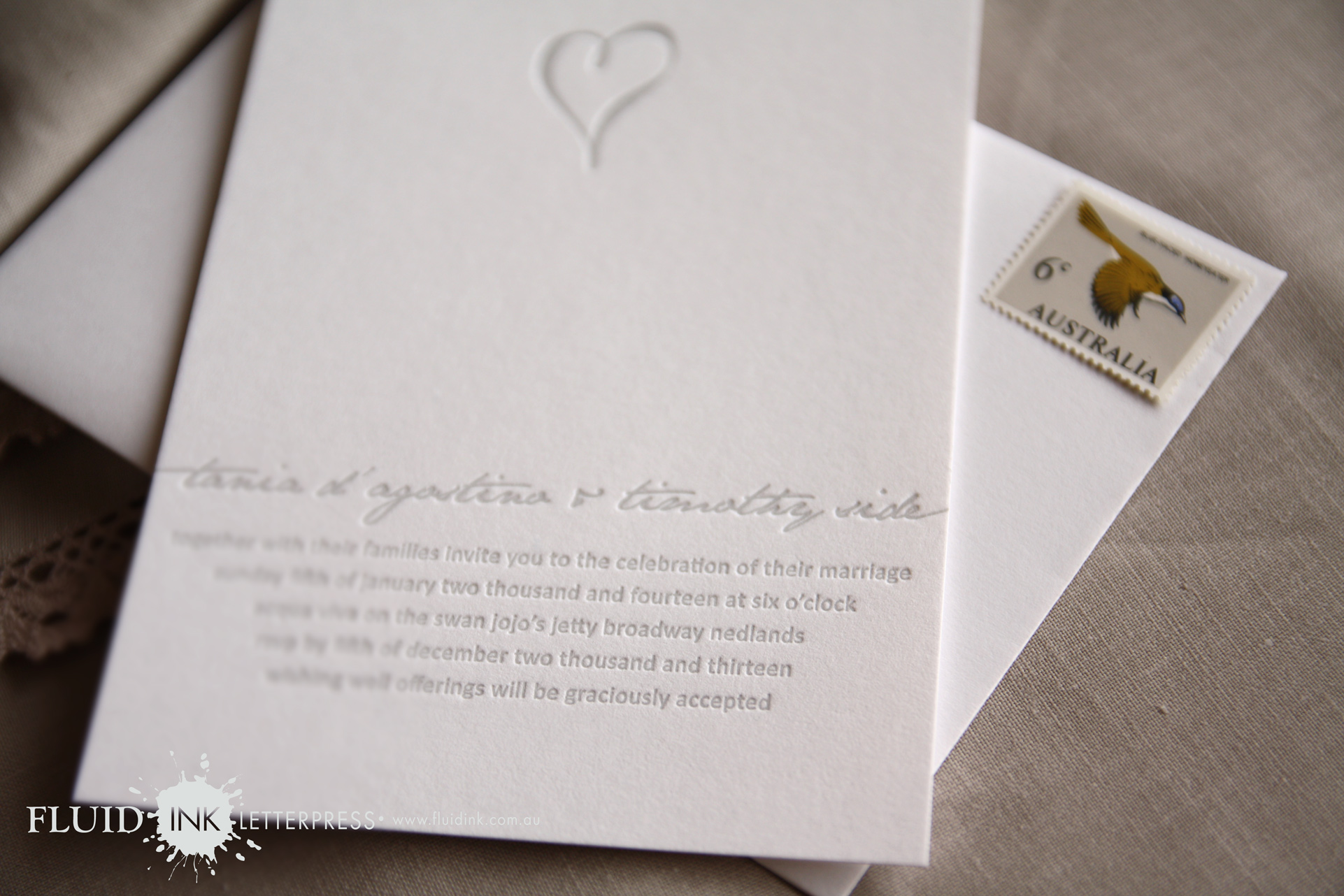 Simple silver heart wedding