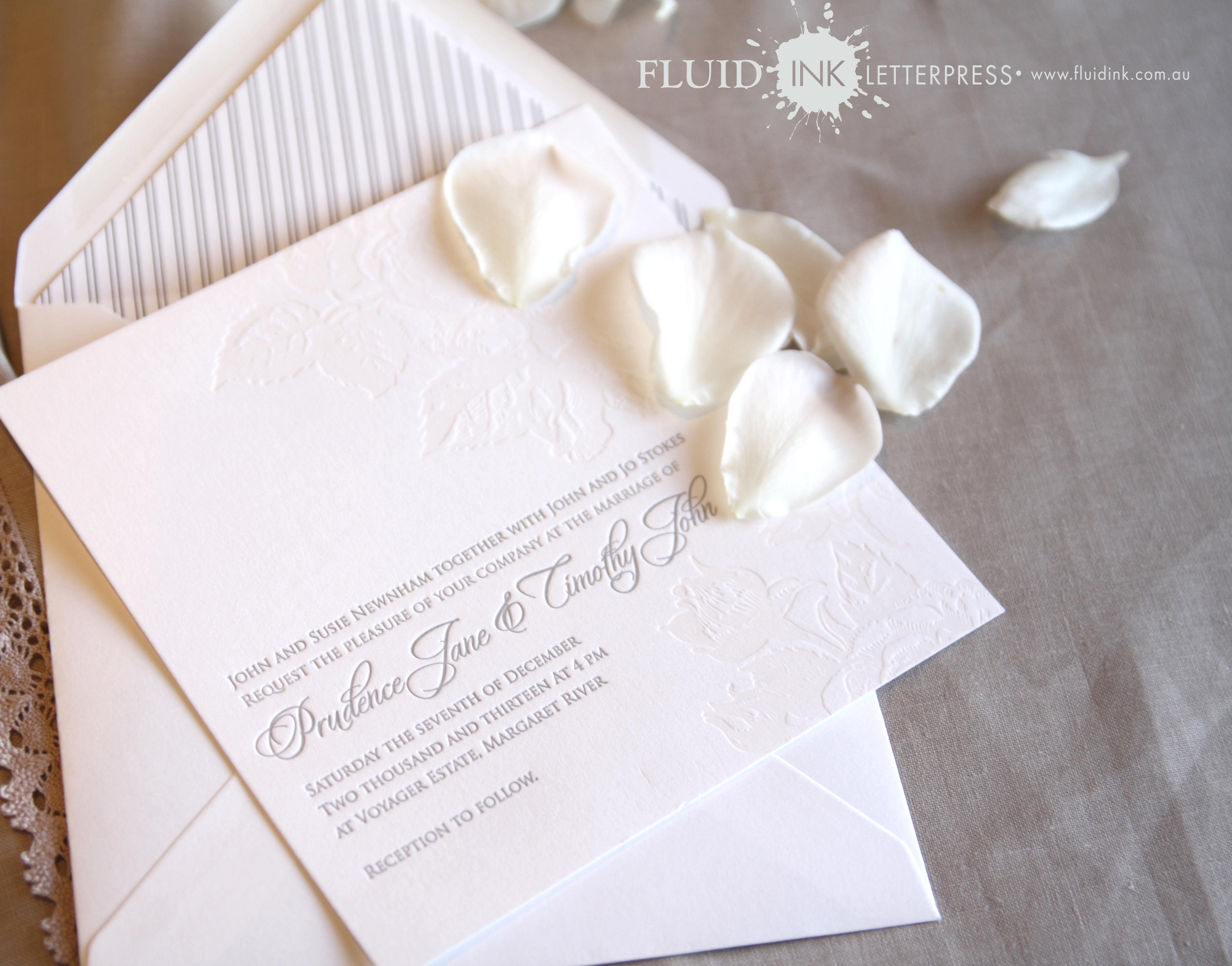 Rose Garden Letterpress invitation 3