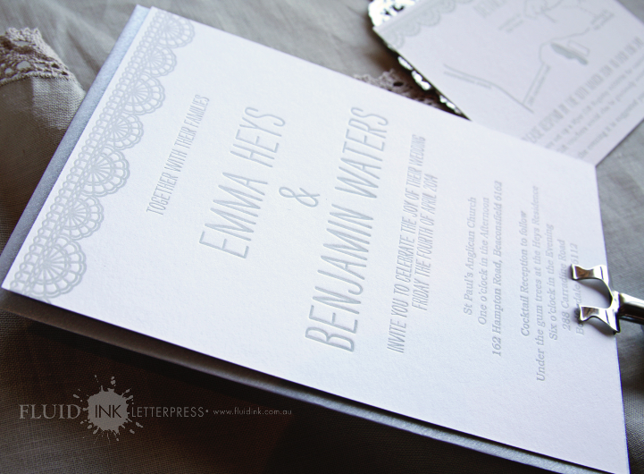 Doily bunting letterpress invitation
