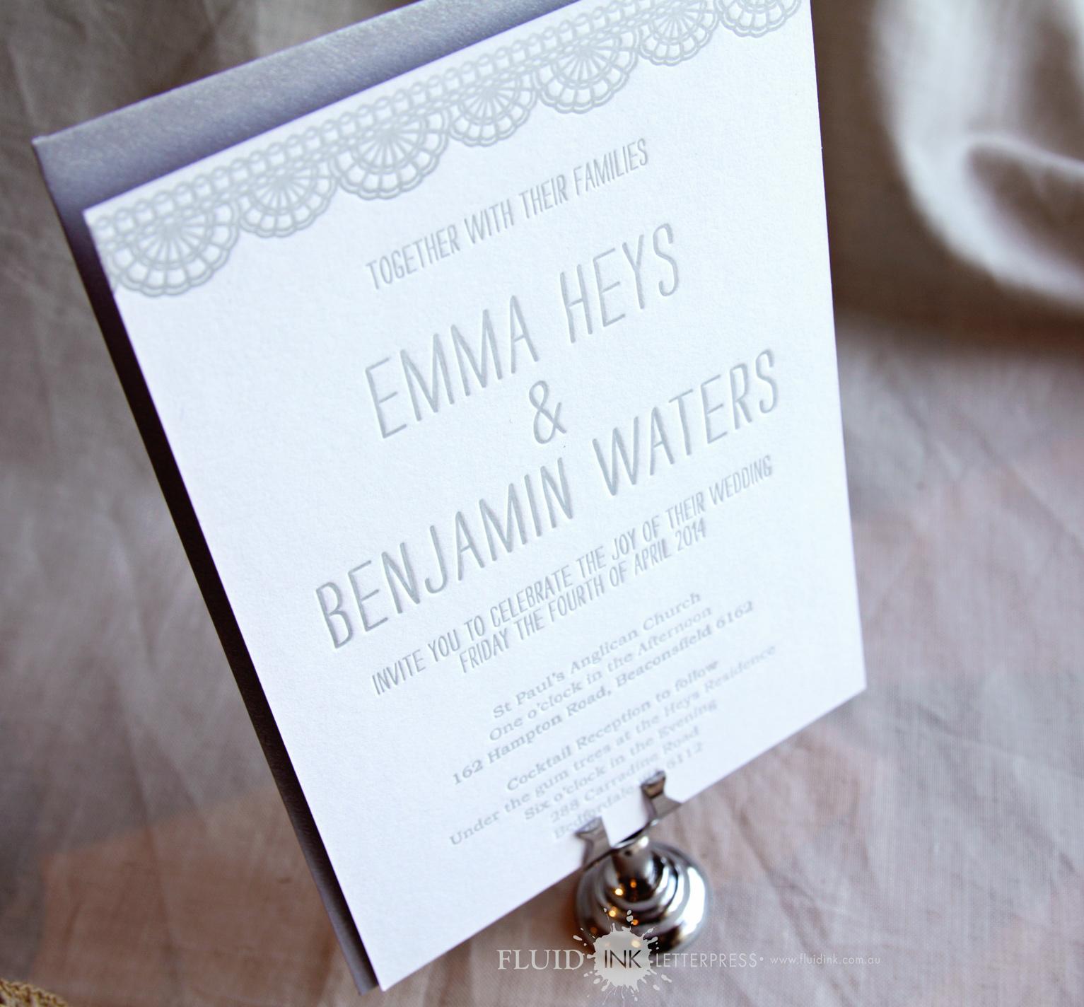 doily bunting wedding invite