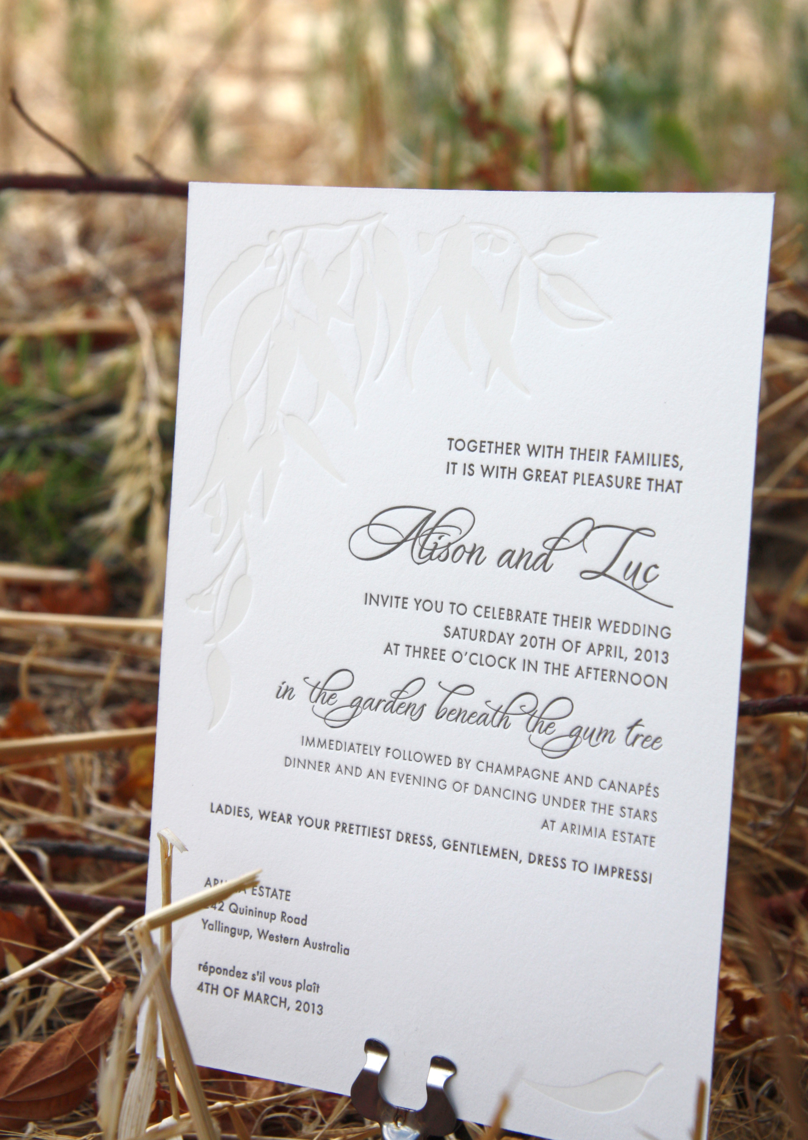 Australian letterpress invitation