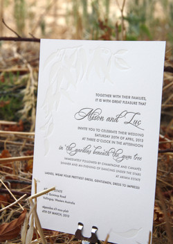 Australian letterpress invitation