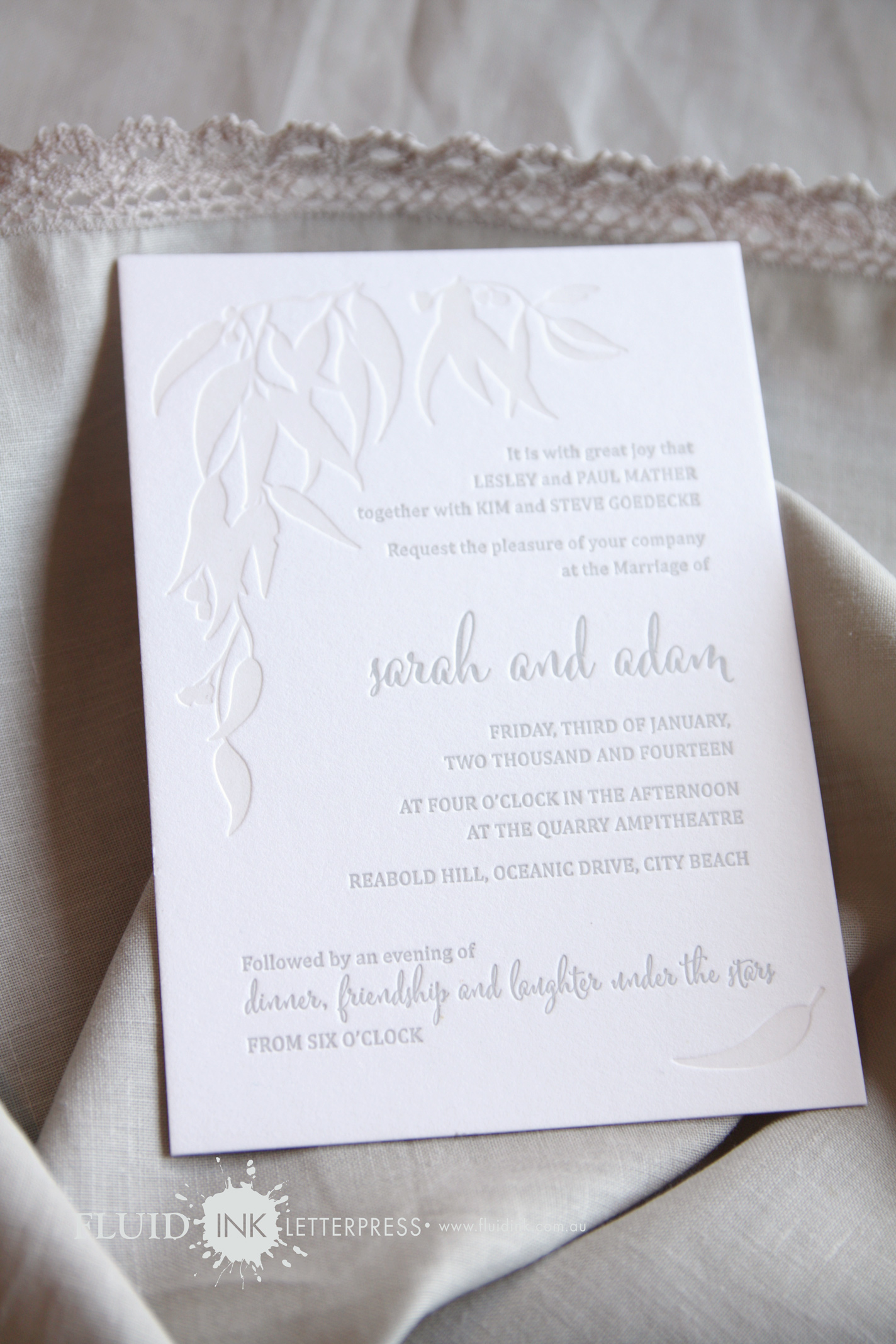 letterpress wedding invitation Perth