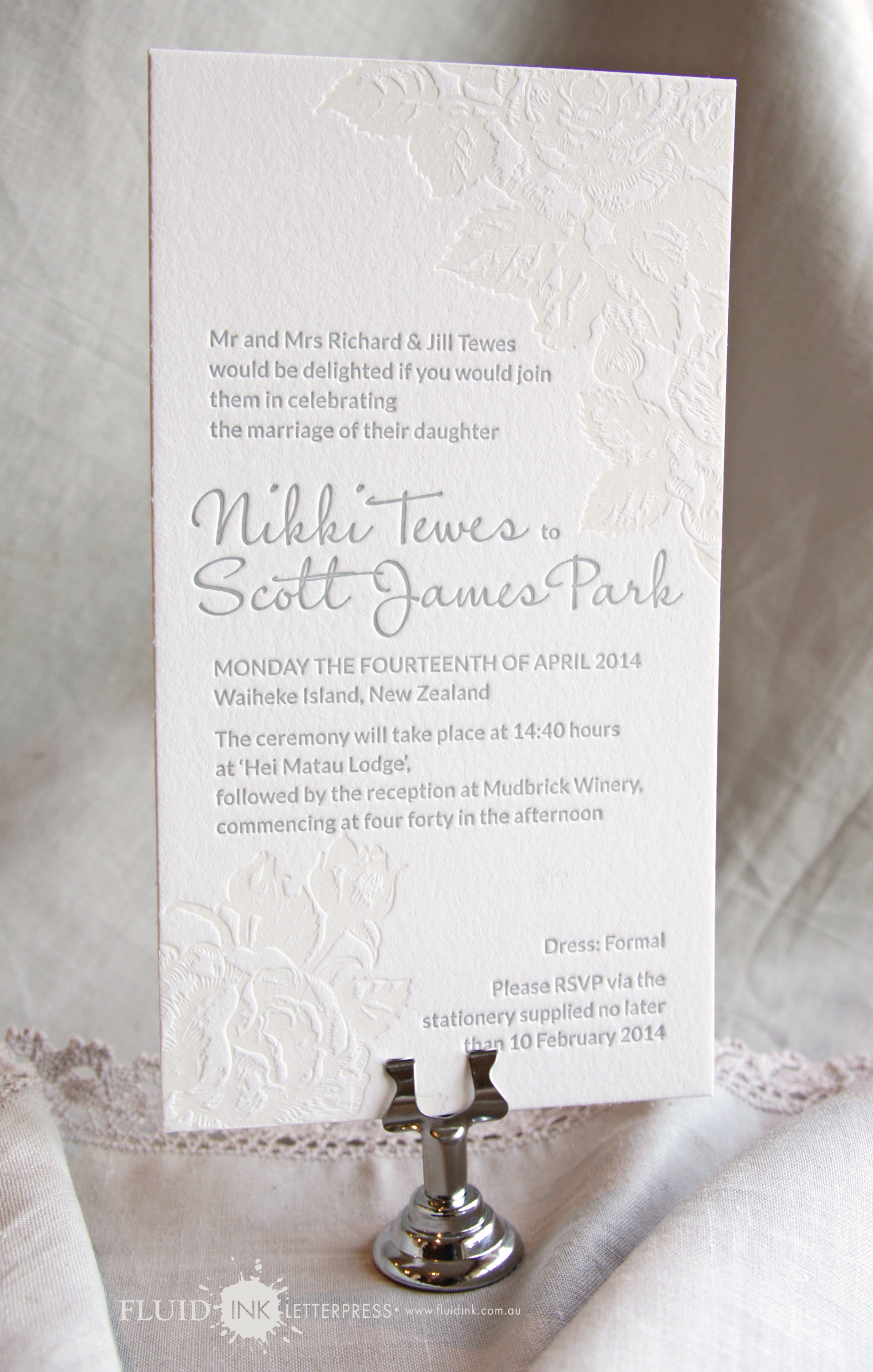 Letterpress rose invitation