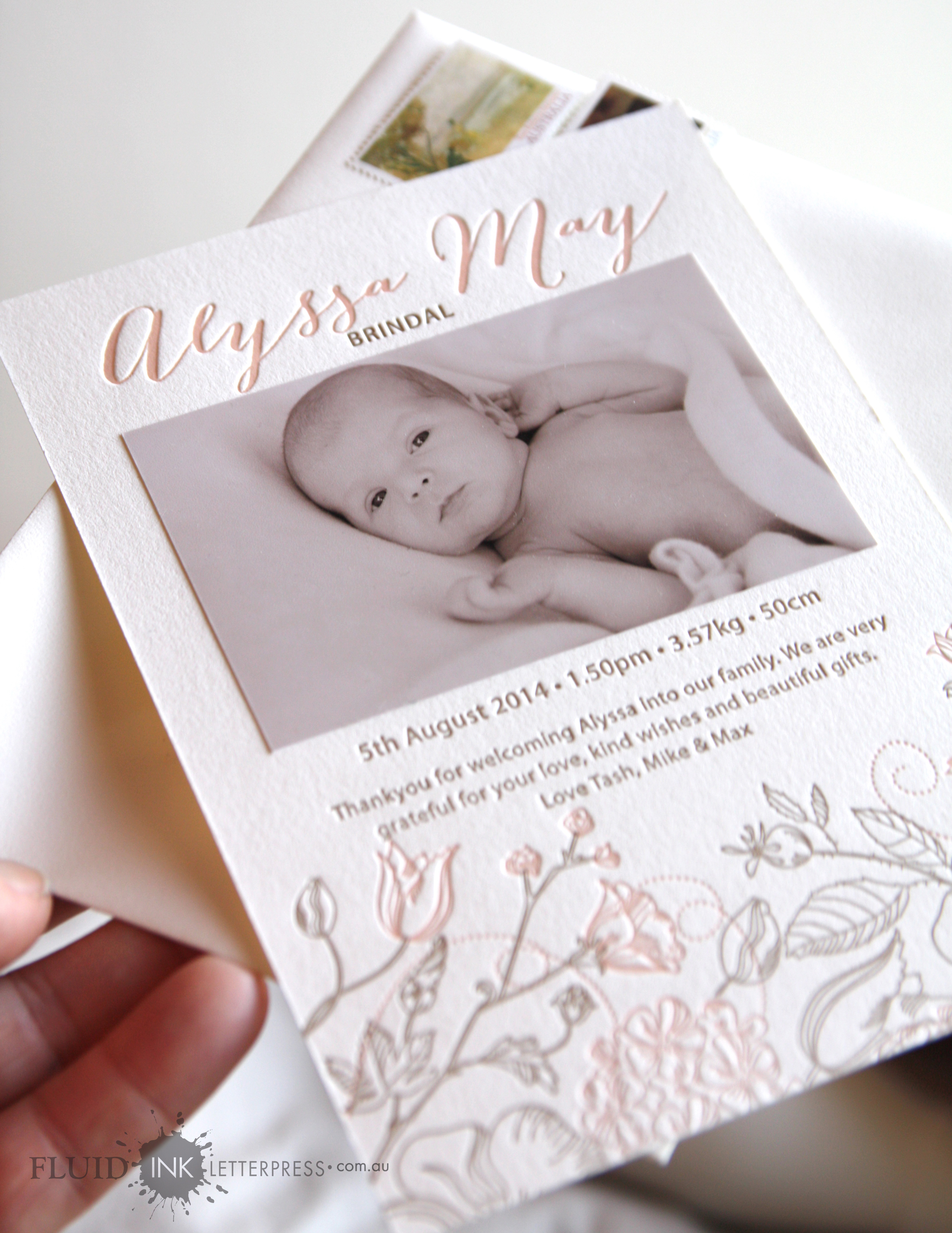 letterpress birth announce