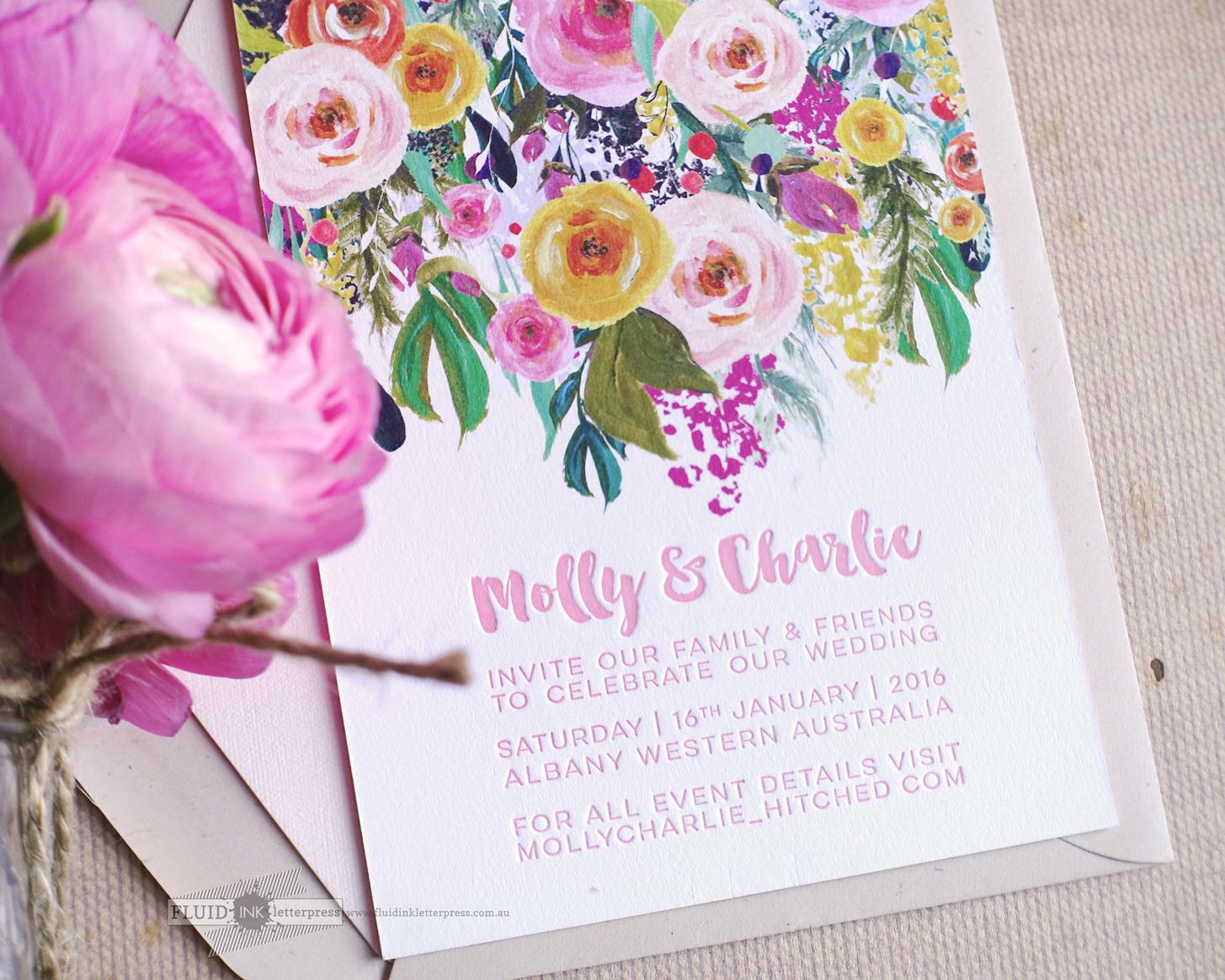 Peony letterpress wedding invitation