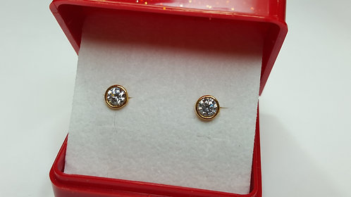 22ct Gold 5 mm CZ Studs/Earrings (Bezel setting)