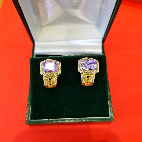 22ct Gold CZ Earrings Clip type