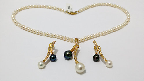 22ct Gold Pearl Set (NCNK010)