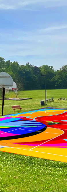 Valencia Park Basketball Court Project Render for 2021 Production.