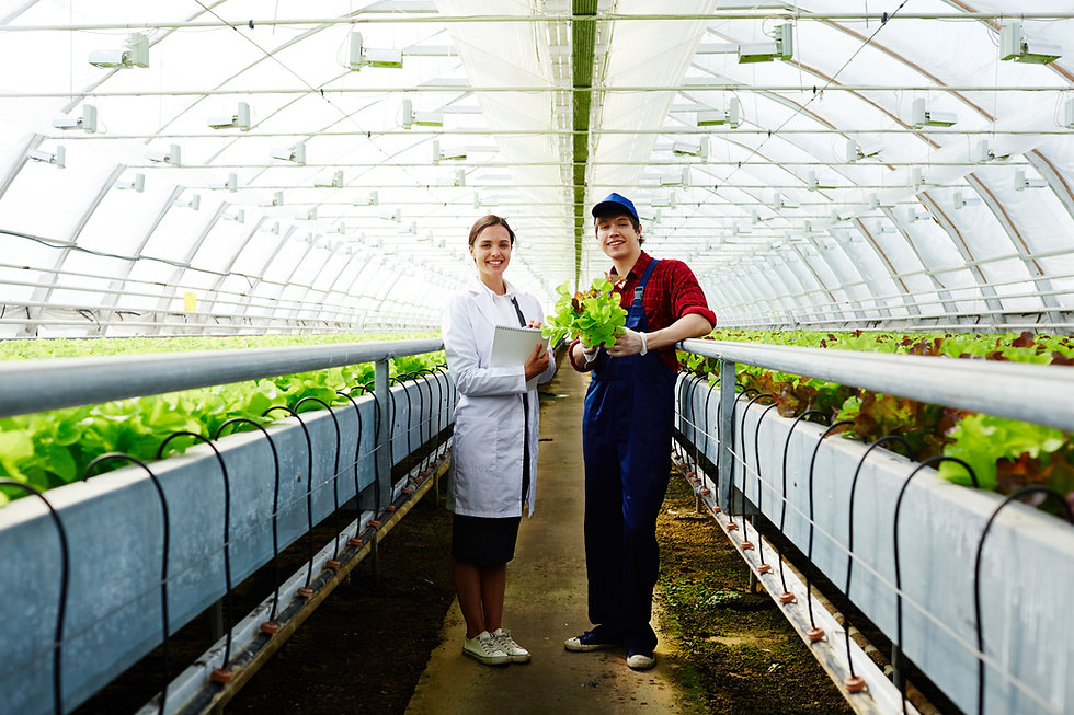 Scientist and farmer working together