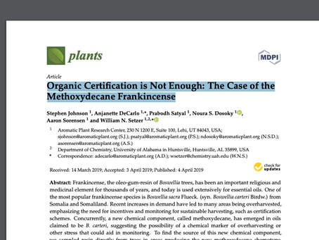 Organic Certification is Not Enough: The Case of the Methoxydecane Frankincense