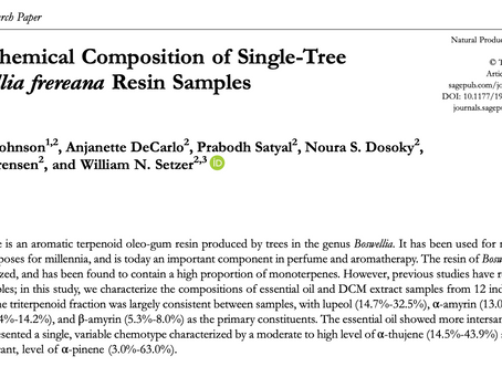 """Paper: """"The Chemical Composition of Single-Tree Boswellia frereana Resin Samples"""""""