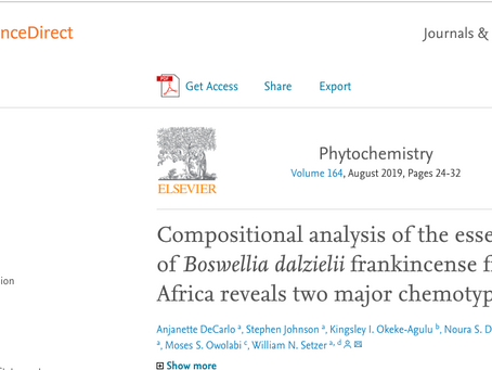 Compositional analysis of the essential oil of Boswellia dalzielii frankincense from West Africa