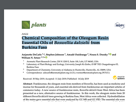 Chemical Composition of the Oleogum Resin Essential Oils of Boswellia dalzielii from Burkina Faso