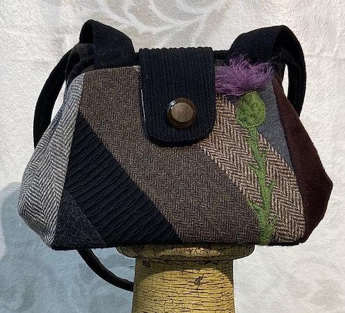 black, brown & grey wool dot bag