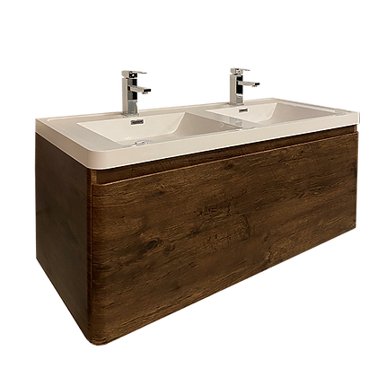 Bathroom Vanity Set with Integrated Sink, Brown