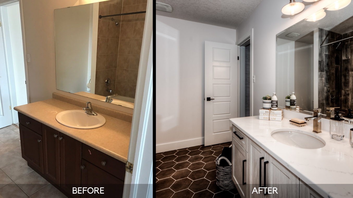 Ensuite Vanity - Before and After