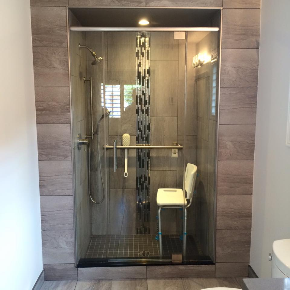 Tub removal, custom shower stall