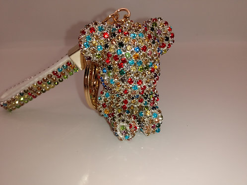Couture Baby Rainbow Bling Bear Keychain