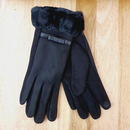Fur Trim Style Gloves Black