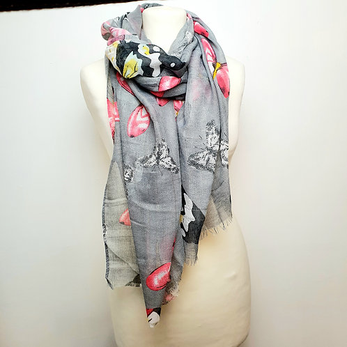 Butterfly Shimmer Scarf Grey
