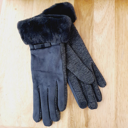 Fur Trim Style Gloves Grey