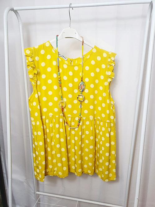 Spotty Frill Top Yellow