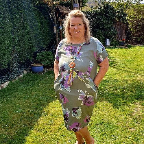 Lisa Linen Dress Khaki