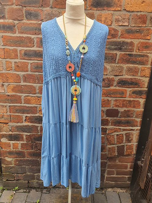 Zelly Crochet Dress Blue