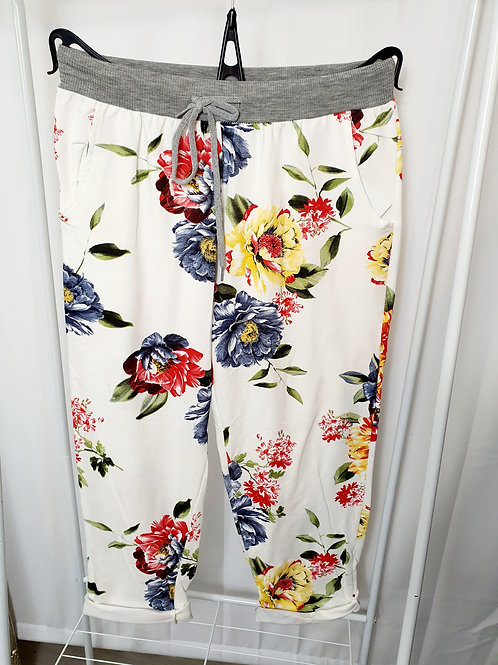 Tilly   White Floral Joggers Size 1
