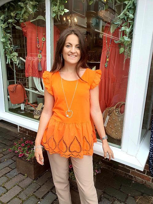 Diana Embrodiery Top Orange