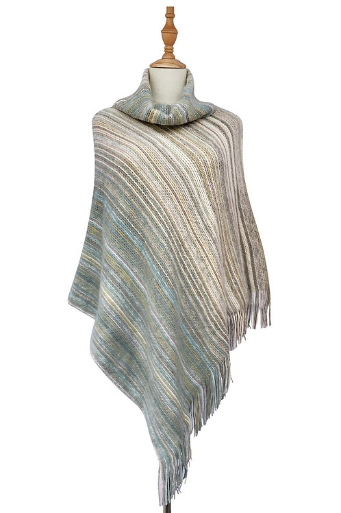 Knitted Stripe Tassell Poncho