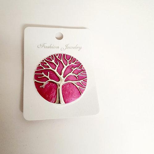Tree of Life Magnet Brooch Cerise