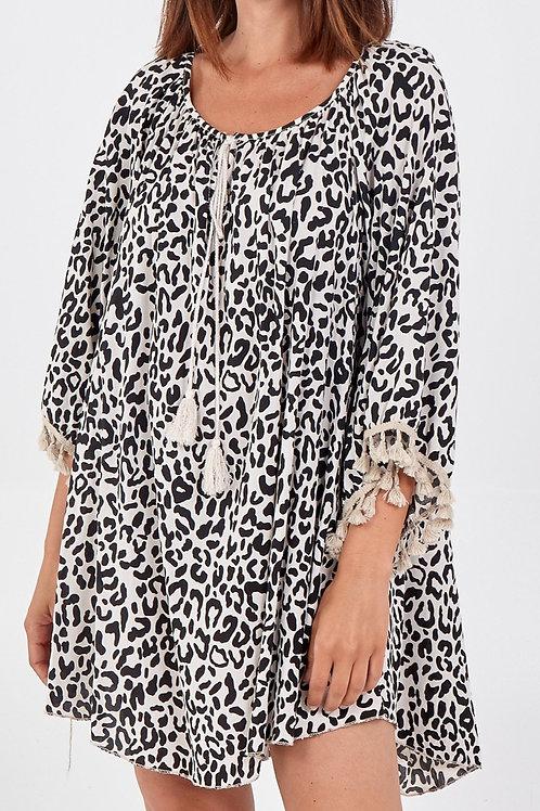 Leopard Print Tassel Dress /Top