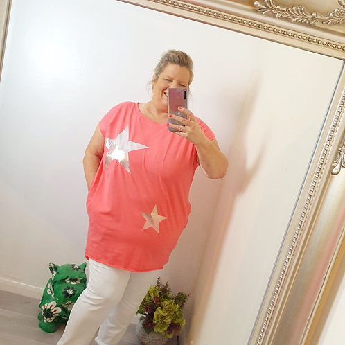 Jenna Star Pocket T shirt Coral
