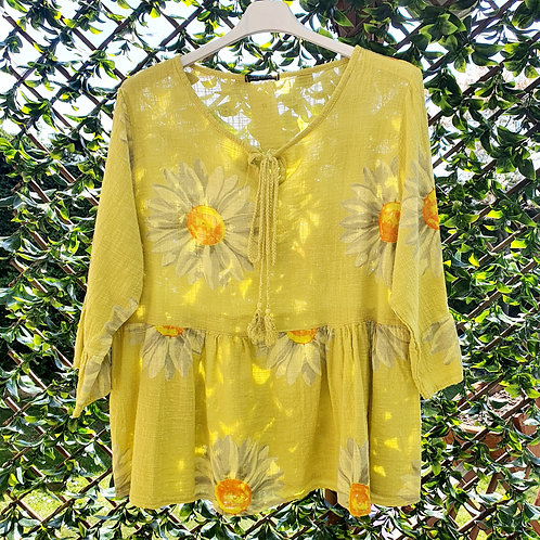 Sunflower Boho Top Mustard
