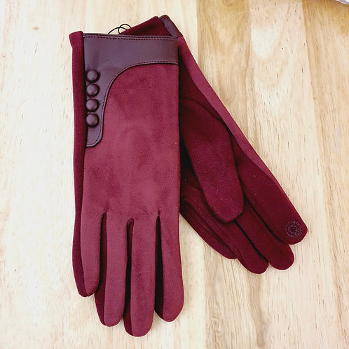Button Style Gloves Berry