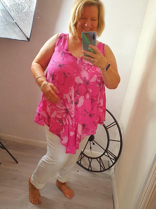 Zenda Hankerchief Top Hot Pink