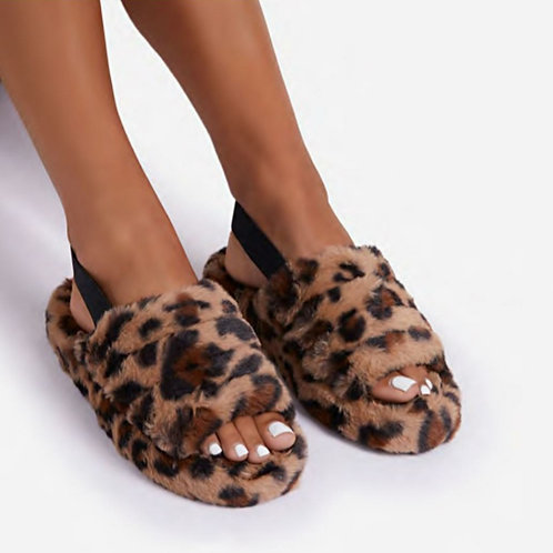 Cosy Slippers Faux Fur Leopard