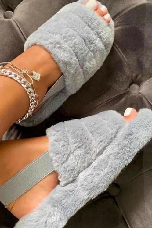 Ella Cosy Slippers Faux Fur Grey