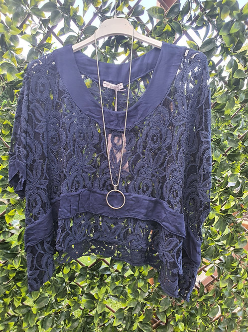 Lace Top Navy