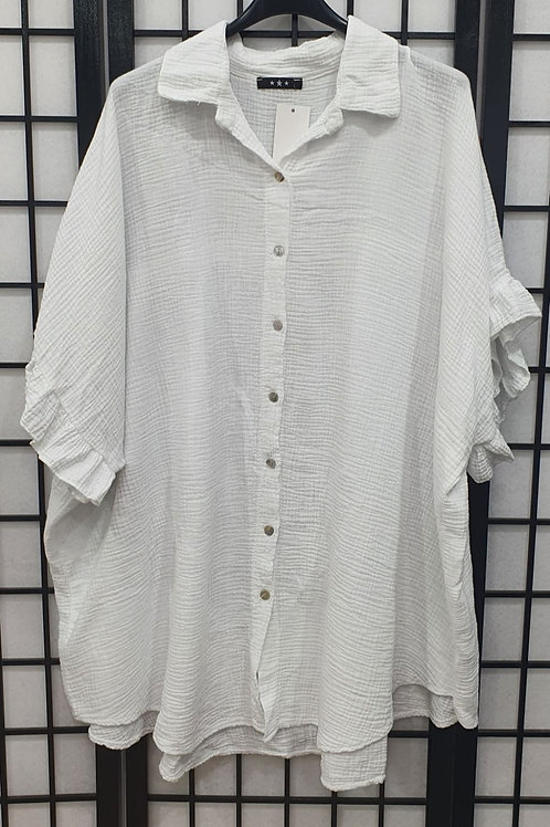 Italian Frill Arm Shirt White