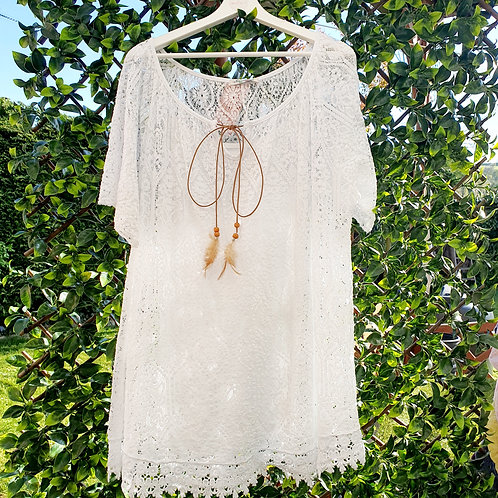 Deanna Lace  Top white