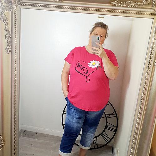 Love T shirt Baby Fushia