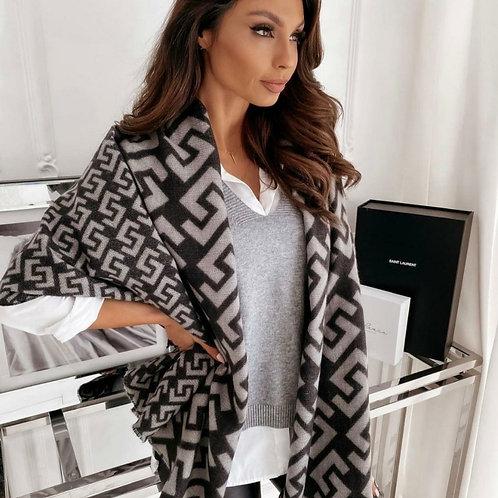 Designer Inspired Blanket Scarf Grey